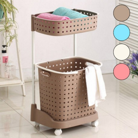 2 Tier Laundry Basket With Wheels