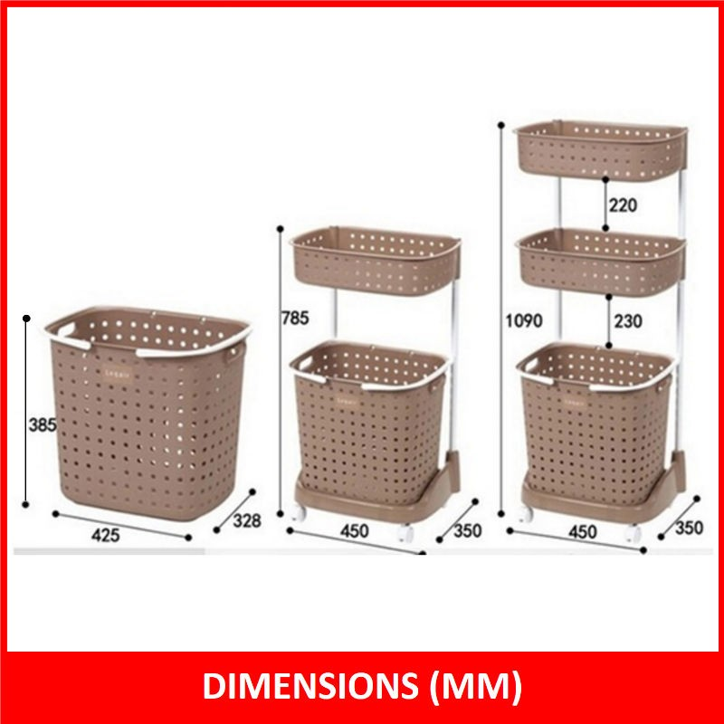 3tier laundry basket with wheels