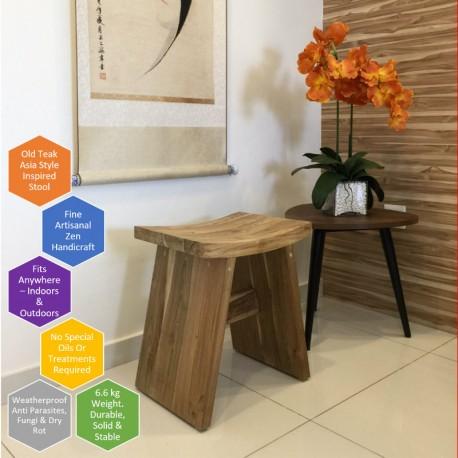 Old Teak, Asia Style Stool, Solid Teak Outdoor Furniture, Shower Bench
